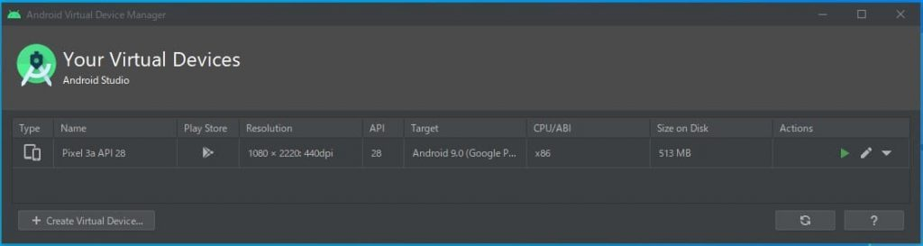 Android Virtual Device Maneger