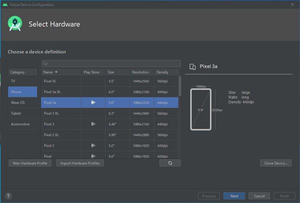 作成するAndroidデバイスの種類を選択
